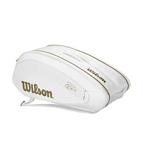 (Wilson Federer DNA 12 Pack Tennis Bag (White/Gold))