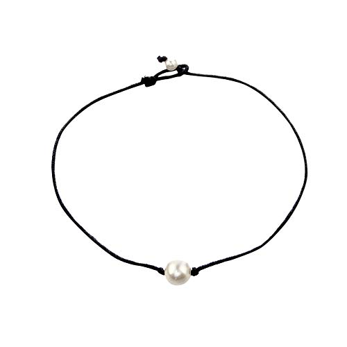 puxiaoa White Freshwater Pearl Necklace for Women with Pure 925 Sterling Silver Beads Handmade Jewelry Gift