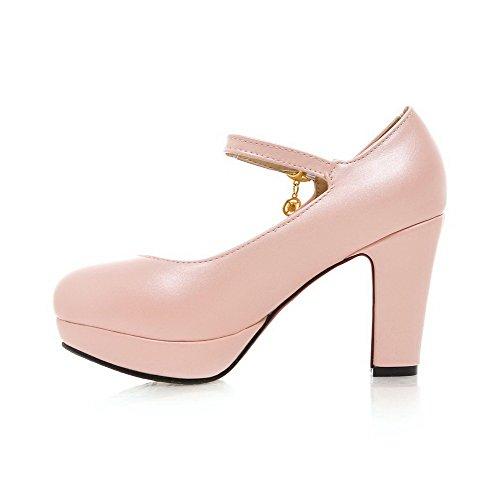 Damen Rein PU Hoher Absatz Schnalle Rund Zehe Pumps Schuhe, Pink, 35 VogueZone009