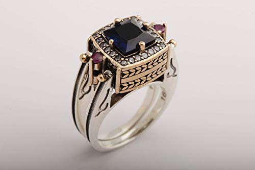 Turkish Handmade Jewelry Reversible 2 rings in 1 ring Square Cut Sapphire Ruby Round Cut White Topaz 925 Sterling Silver Ring Size -