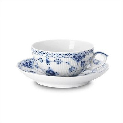 (Royal Copenhagen Blue Fluted Half Lace 6.75 oz. Teacup and Saucer by Royal)