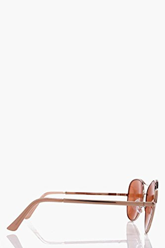 Boohoo Womens Georgia Textured Gold Bar Aviator Sunglasses