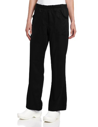 (Urbane Women's Size Ultimate Soft Stretch Elastic Waist Flare Leg Scrub Pant, Black, Small Tall)