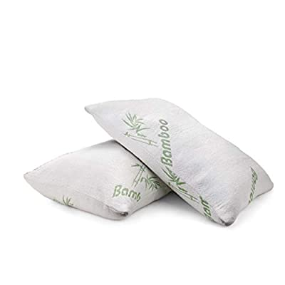 Plixio Pillows for Sleeping - 2 Pack Cooling Shredded Memory Foam Bed Pillows with Bamboo Hypoallergenic Covers (Queen Size) from Plixio