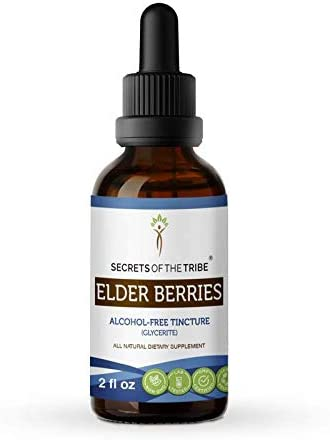 Secrets of The Tribe Elder Berries Alcohol-Free Tincture Glycerite 678 mg Organic Elder Berries Sambucus Nigra Dried Berry 2 Fl Oz Immune Support Supplement