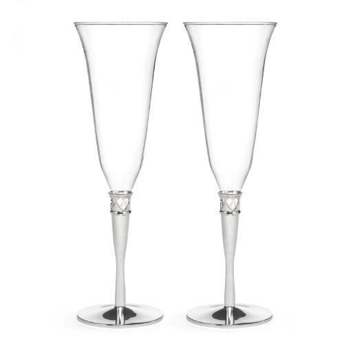 Hortense B. Hewitt Champagne Toasting Flutes Wedding Accessories, Hearts Border, Set of 2