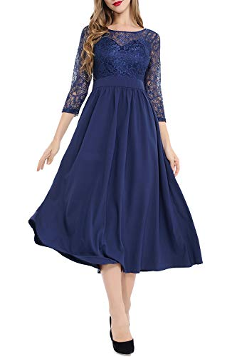 Women's Vintage Floral Lace Bridesmaid Dress 3/4 Sleeve Wedding Party Dress Navy