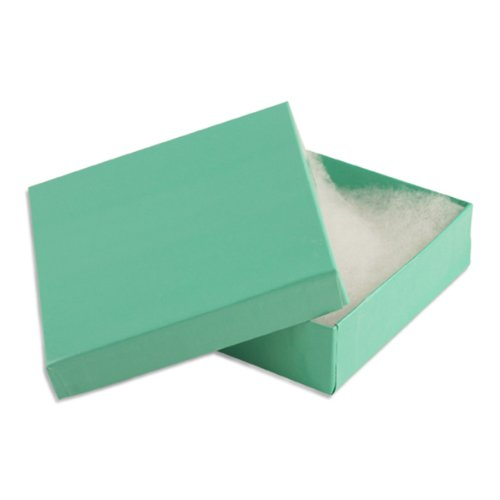 100 pcs Teal Blue Cotton Filled Jewelry Gift Boxes 3x3