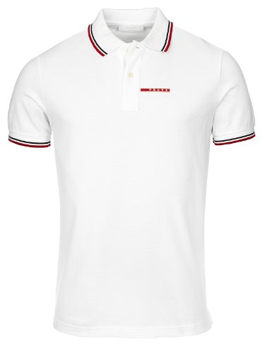 Prada Men's Cotton Piqué Short Sleeve Slim Fit White Polo Shirt - Prada Polo