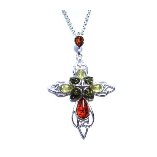 Multicolor-Amber-and-Sterling-Silver-Large-Cross-Pendant-18