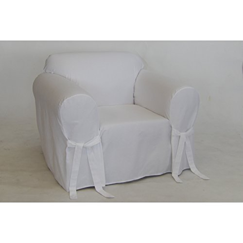 Classic Slipcovers BT30RASLWHT Solid White Twill Chair slipcover Cahir,