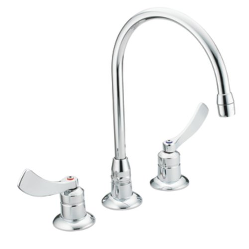 Moen 8225SM Commercial M-Dura Widespread Kitchen Faucet with 4-Inch Smooth Wrist Blade Handles and 8-Inch Spout Reach, 2.2-gpm, Chrome ()