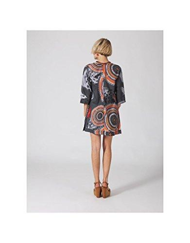 Modeincoton - Larga túnica algodón 3/4 manga pequeña col V Modeincoton TUL219 Multicolor