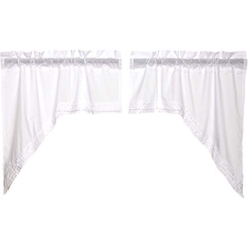VHC Brands Classic Country Farmhouse Kitchen Window Curtains Ruffled Sheer White Swag Pair
