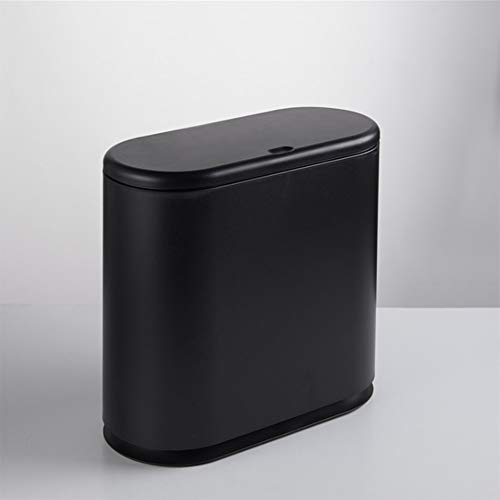 Tight Trash can Bathroom Trash can Small Trash can Home Office Narrow Space Oval Push-Type Bullet Cover Trash -