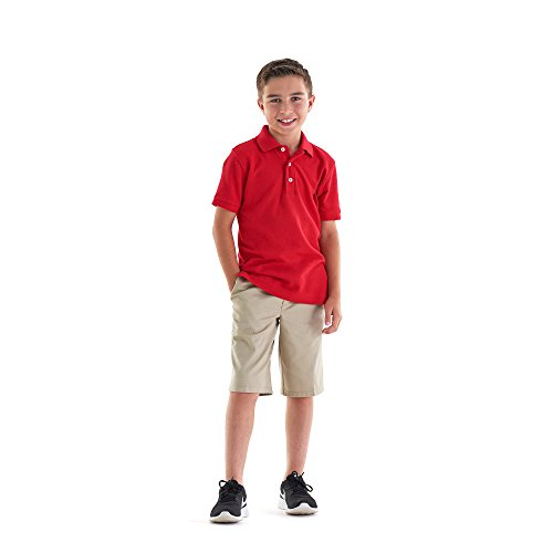 School Uniform Unisex Short Sleeve Pique Knit Shirt By French Toast, Red 31967-10Husky by French Toast (Image #3)