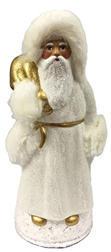 - Pinnacle Peak Trading Company Ino Schaller White Beaded Santa Furcap German Paper Mache Candy Container