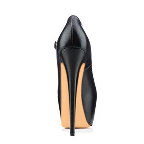 Damen Pumps Hohe Absatz Stiletto Peep Toe Elegant Hohe Plateau Rot Sohle Lady Schuhe Schwarz