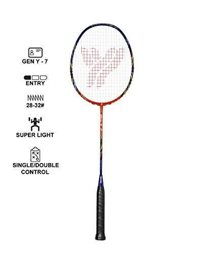 YANG-YANG Professional Series Lightweight High Modulus Graphite Badminton Racket (Vital Material for Strength&Shock Absorption reducing Muscle Injury) w/Carrying Bag (Unstrung, Super Light: GY-7)