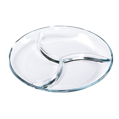 FOYO Round Tempered Glass Serving Platters/Trays - 3 Sectional -10'' Diameter