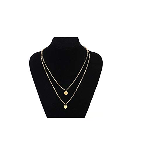 MOCANALA Layered Choker Necklace, Bohemia Double Coin Pendant Necklace Delicate Round Disc Charm Gold Layer Necklaces for Girls (Double Coin)