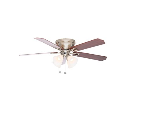 Carriage House Two Light - Hampton Bay Carriage House 52 in. LED Brushed Nickel Ceiling Fan