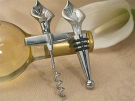 Elegant Chrome Calla Lily Wine Opener, Wine Stopper Set C1435 Quantity of (Elegant Calla Lily Bottle Stopper)