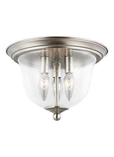 (Sea Gull Lighting 7514503-962 Belton Flush Mount, 3-Light 120 Total Watts, Brushed Nickel)