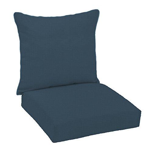 Patio Chair Cushions Umbrellas (FiberBuilt Umbrellas D0301SB-48080 Hinged Deep Seating Chair Cushion Patio and Lawn Furniture with Sunbrella Fabric, Indigo)