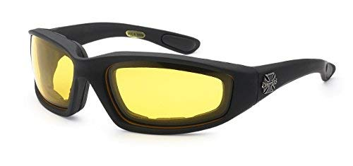 (Choppers Gangster Mens Women Biker Cycling Padded Motorcycle Goggles Sunglasses (Night Drive Yellow Lens))