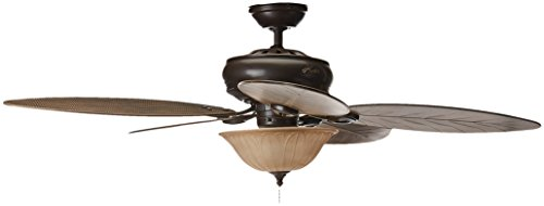 Hunter Grand Cayman 54 In. Onyx Bengal Damp Rated Ceiling Fan with Light Kit (Four Classics Light Outdoor)