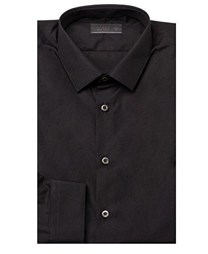 Prada Men's Spread Collar Cotton Dress Shirt Black