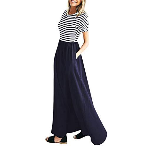 Women's Casual Striped Long Dresses, AmyDong O-Neck Elastic Waist Short Sleeve Tunic Maxi Dress with Pockets Blue