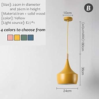L/ámpara N/órdica//L/ámpara Colgante//Techo Luz Industrial Estilo Retro Colorido para Dormitorio//Bar Estudio//Balc/ón Corredor Caf/é L/ámpara//Sala de estar//Restaurante A-amarillo