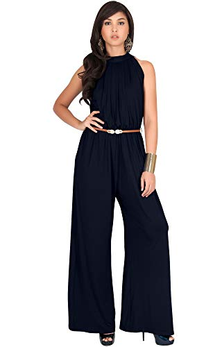 KOH KOH Plus Size Womens Sexy Sleeveless Halter-Neck Wide Leg Pants Cocktail Overall Long Work Day Suit Pant Suits Pantsuit Playsuit Jumpsuit Jumpsuits Romper Rompers, Dark Navy Blue 3XL 22-24