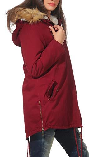 Malito Burdeos Invierno Parka 81103 81099 Abrigo Forrado Capucha chaqueta Mujer FAqFpxrf