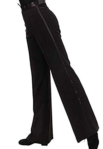 ranrann Men's Modern Latin Jazz Salsa Tango Competition Practice Dance Costume Long Pants Trousers (Medium) Black