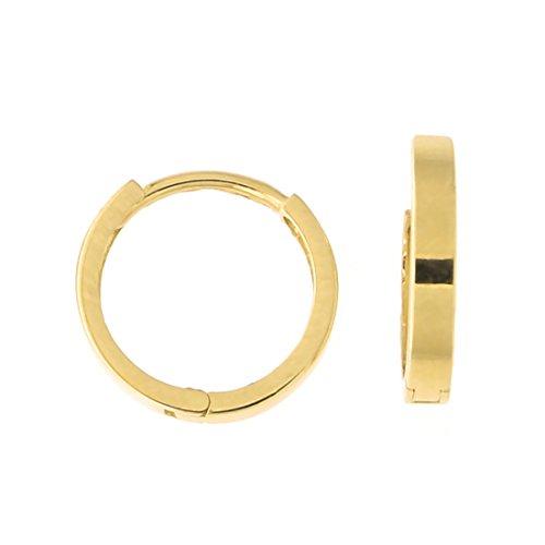 Flat Huggie Hoop Earrings, 12.5mm (1/2 in) ()