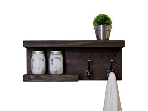 Rustic 2 Tier Bathroom Shelf with Towel Hooks on right