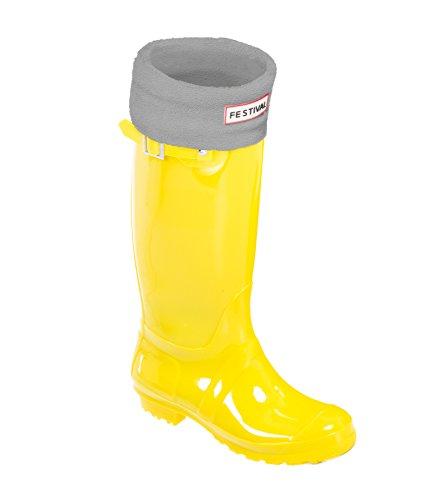 Festival Ladies Original Tall Warm Winter Rain Wellies Wellington Boots Sizes 3-9 UK Yellow / Grey VGAzTLQo