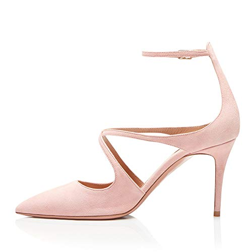 250 Sposa High mwoook Party Pink Da Incrociati Festa Heel Scarpe Scarpe Sexy Pumps Alto Cinturini Fibbia wq6axYSAY