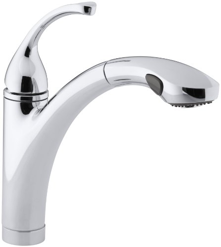 Single Control Ceramic (KOHLER K-10433-CP Forte Single Control Pull-out Kitchen Sink Faucet, Single Lever Handle, 1-hole or 3-hole installation, Polished Chrome, 2-function Spray Head)