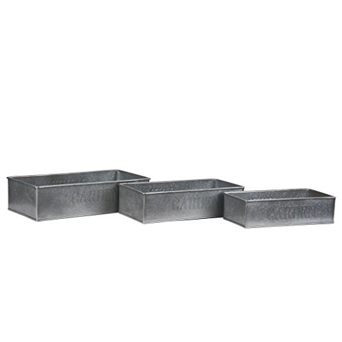 Skalny 5358 Rectangle Silver Garden Tin Planters 3Pc Set from Skalny