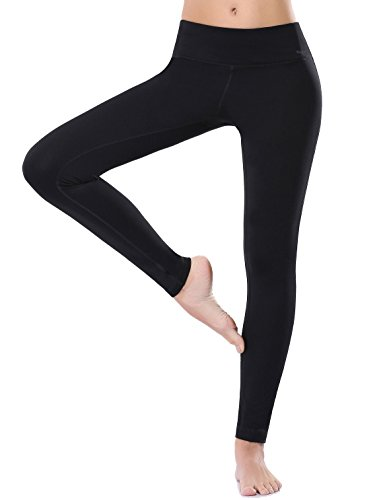 WingsLove Women Active Fitted Stretchy Seamless Cotton Yoga Capris Leggings Pants (S, Black)