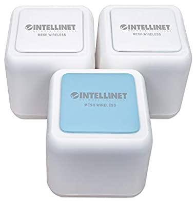 Intellinet Network Solutions Whole Home Mesh Wireless AC1200 Kit-One Router & Two Extenders-Covering up to 4,500 ft2 with 2.4- & 5-GHz Bands, Optional Guest Network, Touch-and-Connect Internet Access