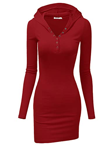 Doublju Womens Long Sleeve Henley Neck Basic Hoodie Dress Burgundy (Womens Hooded Henleys)