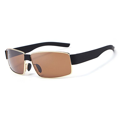 HDCRAFTER Valentine's Day Gift Cool Mens Polariod Plastic Sunglasses UV400 Protection E013 (Gold, - Glasses Polariod