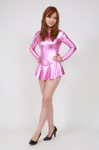 Shiny metallic high-necked long-sleeved leotard with skirt pink (AR04) Men size L (japan import)