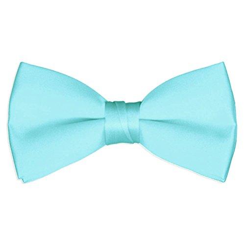 Mens Aqua Blue Satin Bow Tie - Tiffany Mens