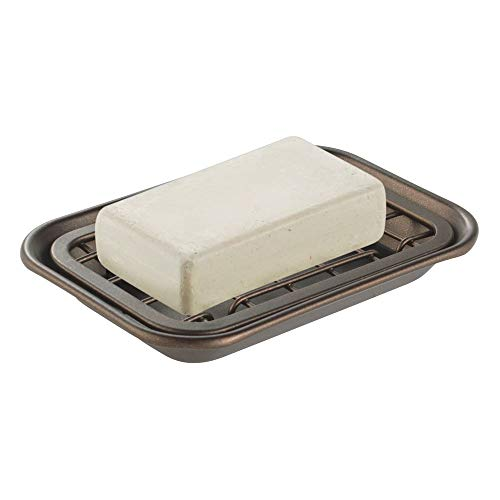 mDesign MetroDecor Kitchen and Bathroom Soap Dish Tray - Bronze